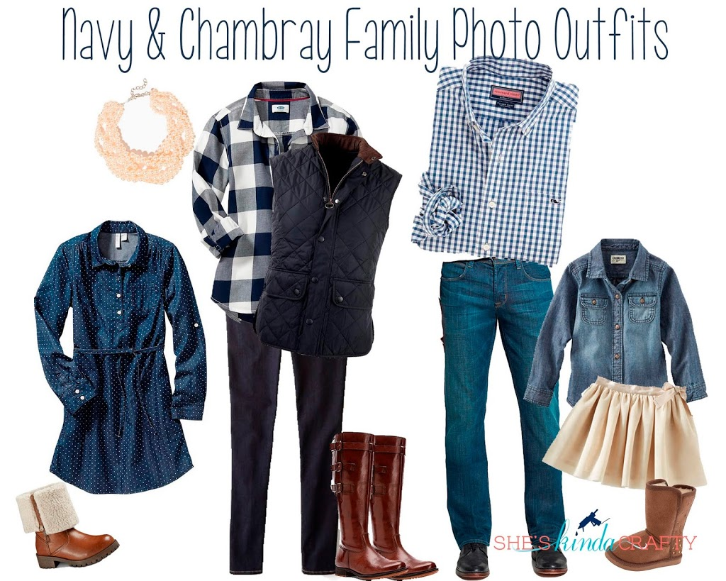 Navy And Chambray Family Photo Outfits