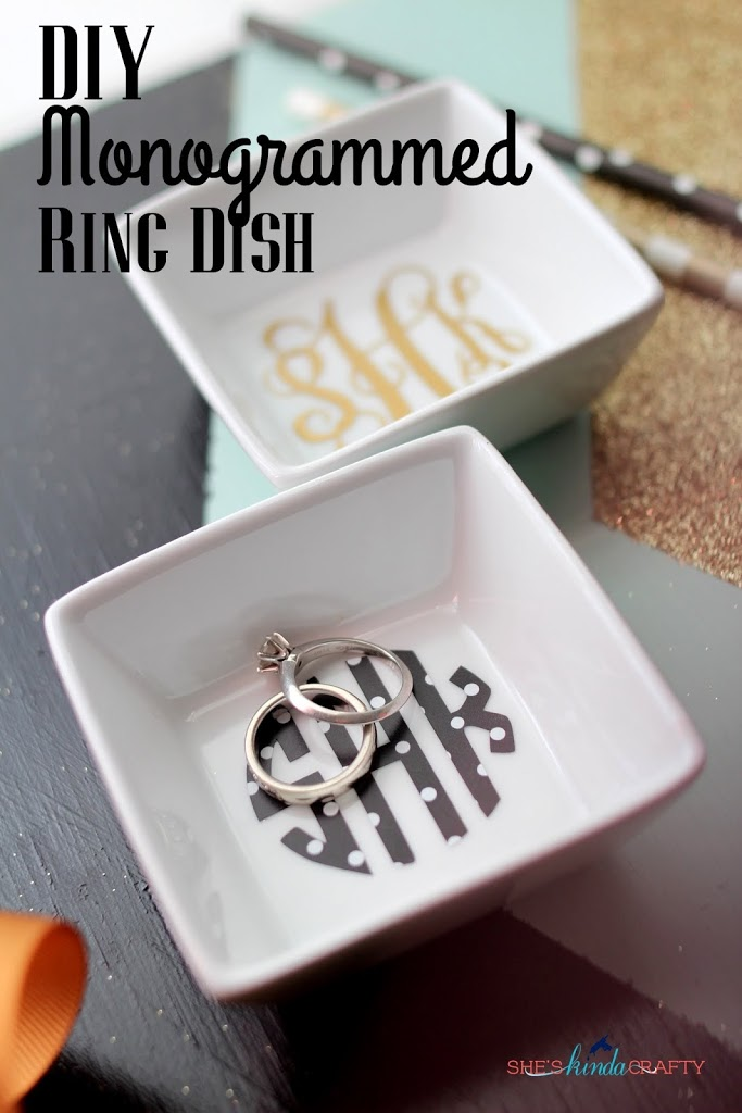 Diy Monogrammed Ring Dish Shes Kinda Crafty