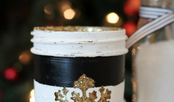 DIY Stripes and Glitter Mason Jar
