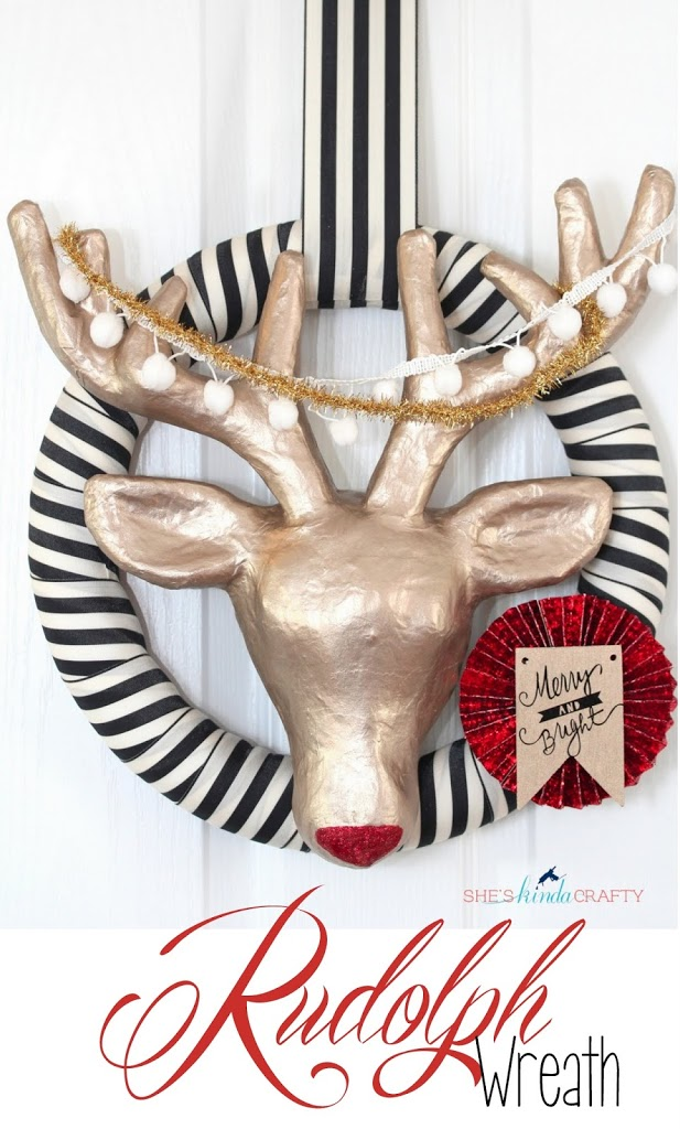 when i first saw this paper mach reindeer at michaels i picked it up not having any idea what i was going to do with it other than make it the centerpiece - Michaels Christmas Wreaths